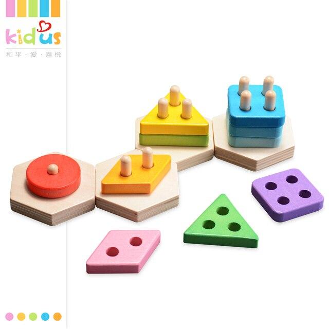 Zalami juguetes de madera bloques de construcción forma color niños ...