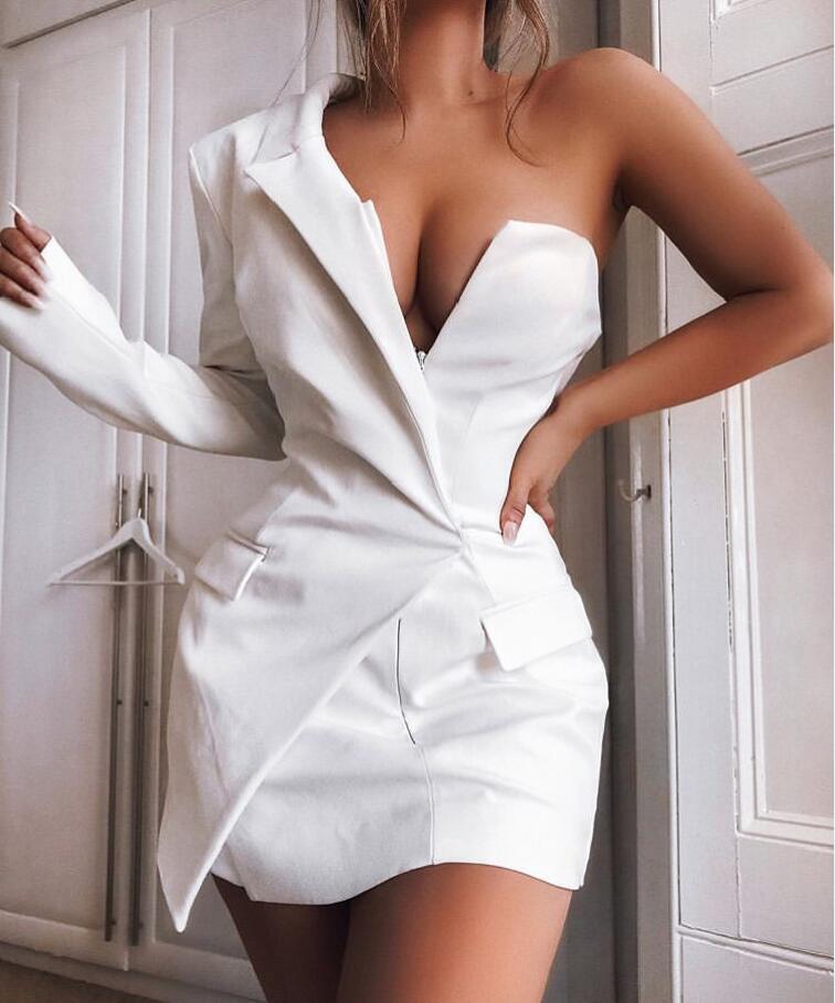 Blanc et noir couleur dames à manches longues mode une épaule moulante Mini robe célébrité mode robe offre spéciale