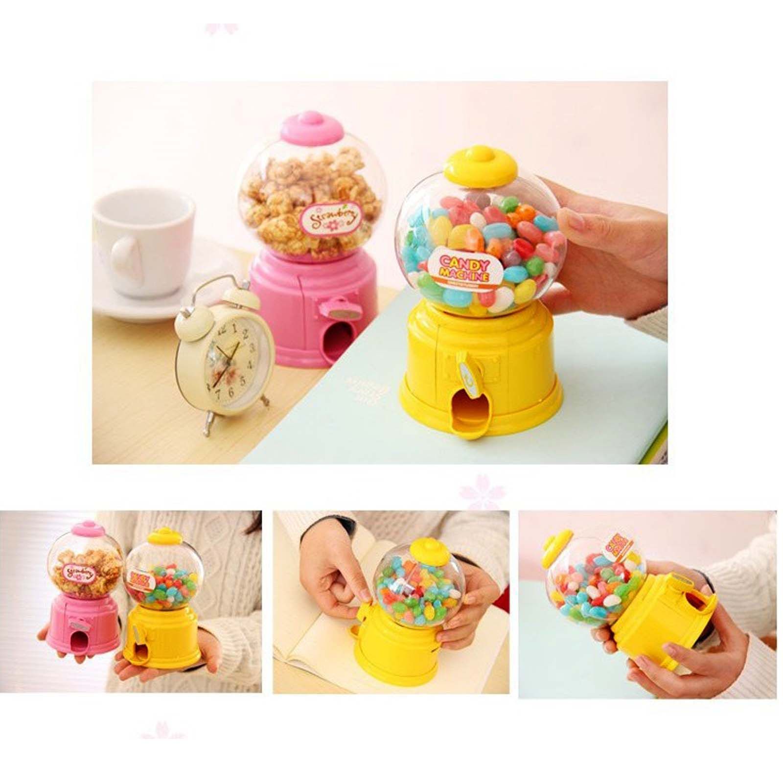 New Cute Sweets Mini Candy Gumball Dispenser Vending Machine Saving Bank Coin Kids Toy