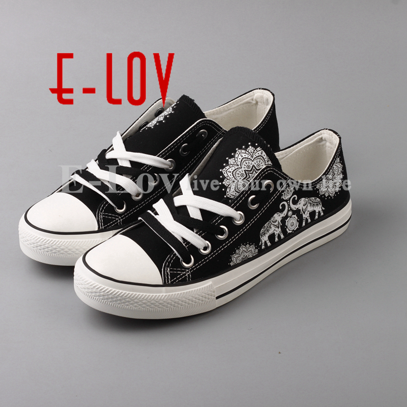 E-LOV High End Printed Hindu Buddhism Canvas Shoes Retro Vintage Lace-up Casual Leisure Shoe Women Flat Espadrilles e lov women casual walking shoes graffiti aries horoscope canvas shoe low top flat oxford shoes for couples lovers
