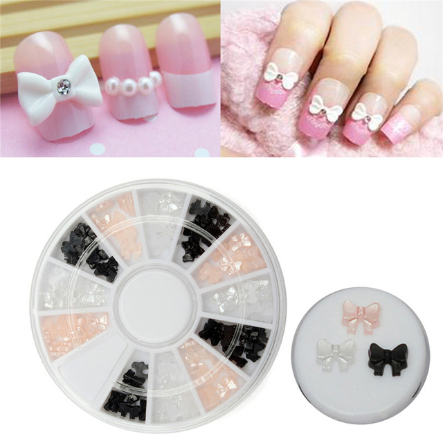3 Color Nail Art Tip Sticker Diy Pearl Ribbon Bow Tie Alloy Glitter