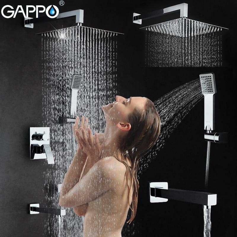 GAPPO Wall bathroom shower faucet set bronze rainfall shower faucet chrome bathtub faucet tap waterfall head Bath Shower GA7102