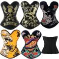 Hot Sale Corset Top Punk Sexy Corset Bustier Skull Corsets Fashion Corselet Women Halloween Party Club Wear Tops Plus Size S-2XL