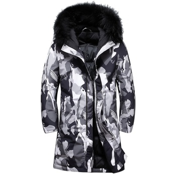 Winter mens jacket windbreaker Camouflage men's long down jacket top quality fur collar extra thick white duck down jacket men
