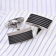купить Bridegroom Wedding Business Men French Shirt Cuff Links Black Striped Enamels Rectangle Cufflinks Silvery Cufflink With Gift Bag дешево