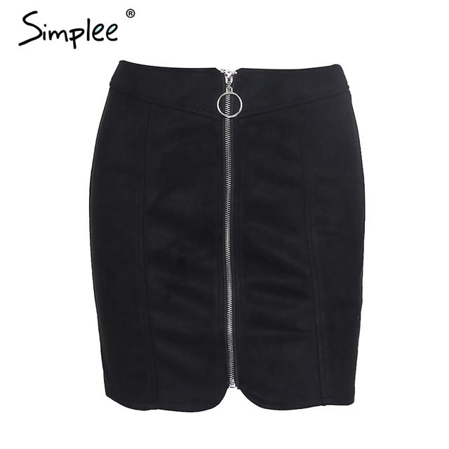 Simplee Sexy leather suede pencil skirt women Zipper ring autumn winter high waist  short skirt 2017 Bodycon party mini skirt