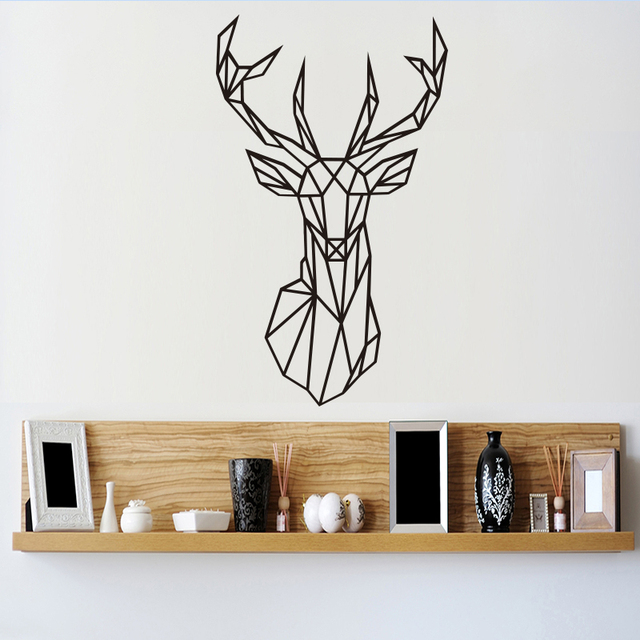 Origami Geometric Deer Head Wall Stickers Home Decor Vinyl Decal Creative Animal Removable Mural For