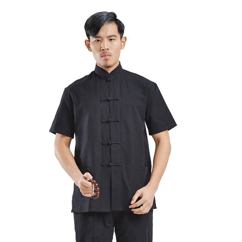 Short Sleeve 100%Cotton Traditional Chinese Clothes Tang Suit Top Kung Fu Tai Chi Uniform Summer New Shirt Blouse For Men