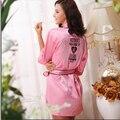 2016 Segredo Sexy Mulheres Kimono Roupão, Suave Deslizamento De Seda Vestes De Cetim para Festa de Pijama, rosa Listrado Lace Robe/Sleepwear/Peignoire