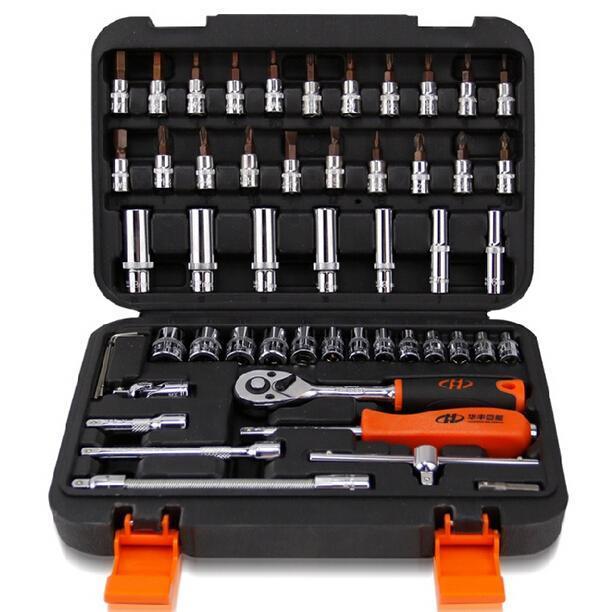 53 шт./компл. торцевых ключей рукава трещоткой ключ быстро сочетание 1/4 - 6.3 мм