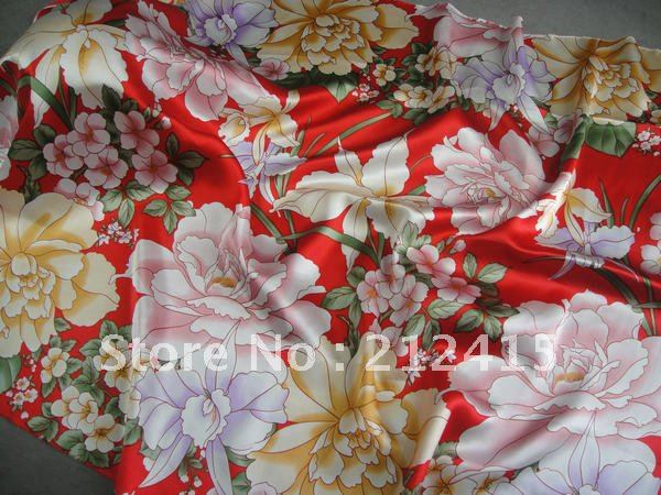 Free shipping/100% silk fabric /red/ #LS0714 silk fabric for dress