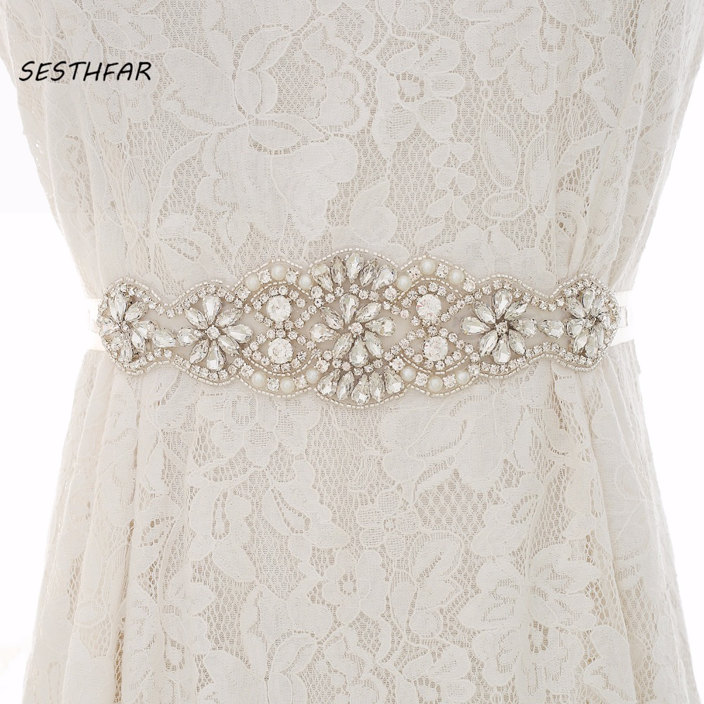 Rhinestones  Wedding Belt Pearls Bridal Belt Handmade Gold Crystal Flower Wedding Sash For Bridal Gown J119S
