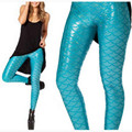Women Fashion Fish Scales Print Leggings Mermaid Legging  Elastic Faux Leather Sexy Slim Pencil Pants