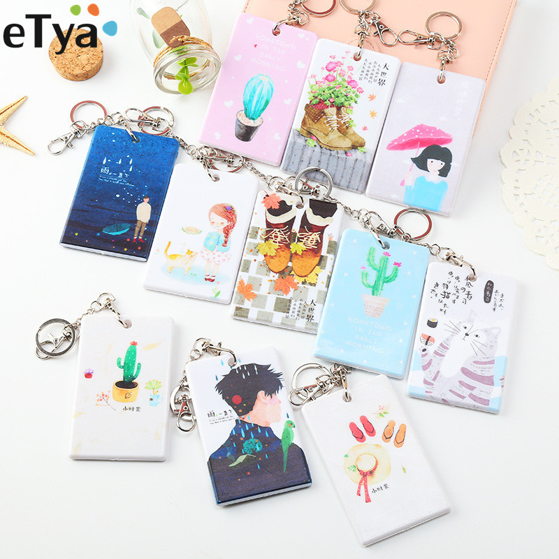 ETya Cartoon PVC Credit Card Holder With Keyring Set Student ID Black Bus Card Cover Wallet Bag Case Girl Gifts