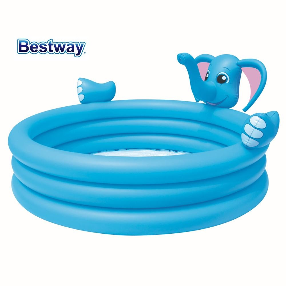 Bestway 53048 Elephant Three-ring Water Spray Inflatable Pool Baby Bath Swimming Pool Elephant 3-ring Tank with Easy Drain Valve