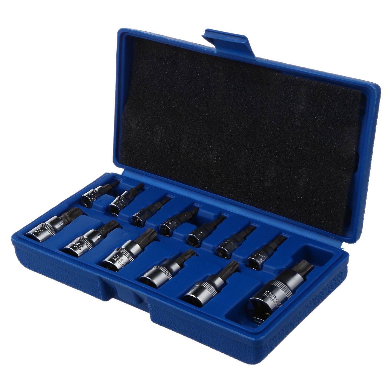 THGS 13 Pcs Tamper Proof Torx Star Bit Socket Set 1/4 3/8 and 1/2 inch Drive T8 - T70 AT724 brand new 10pcs 12 point mm triple square spline bit socket set for tamper proof lug nuts cylinder head bolt