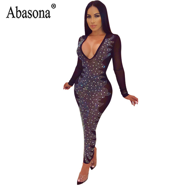 2f4b34740d3 Abasona Diamond Dress Women Nightclub See Through Deep V Neck Black Sexy  Dress Long Sleeve Bodycon Womens Ankle Length Dresses