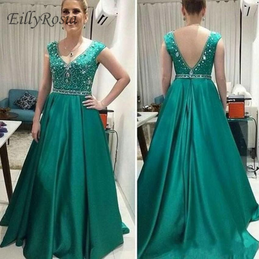 Green Elegant Mother Of The Bride Dresses For Wedding Party V-Neck Backless Sequins Crystals A Line Satin Women Evening Gowns