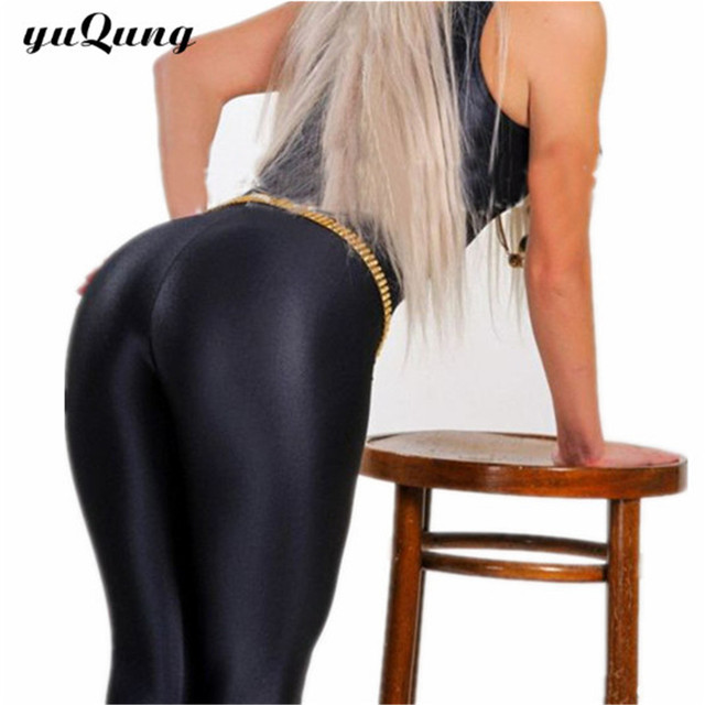 yuqung Black Womens Leggings Lycra spandex shiny legging workout Leggins  Capris pants Fitness Nine Ankle length Pantalones e547401985e8