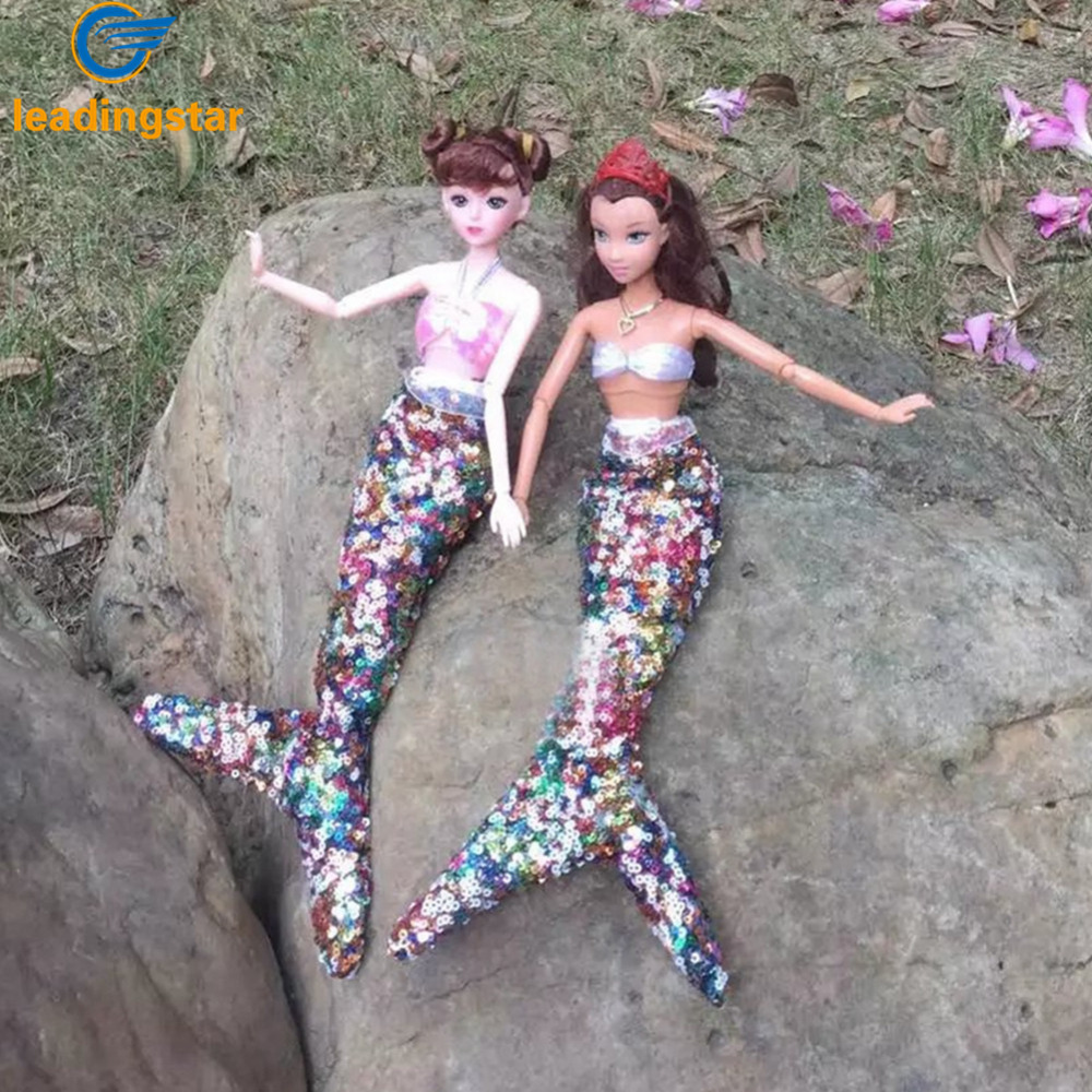 LeadingStar Handmade Dolls Party Dress Gown Sequins Mermaid Clothing for Barbie Doll Mermaid Tail Dress Baby zk35 leadingstar pink swing chair for barbie dolls