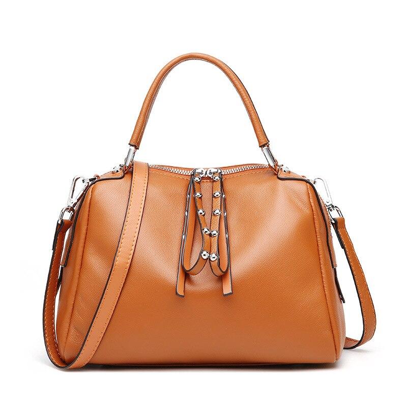 2018 新しい女性バッグレディース本革バッグ女性のためのリアル牛革女性のハンドバッグファッション女性のショルダーバッグ  グループ上の スーツケース & バッグ からの ショッピングバッグ の中 1