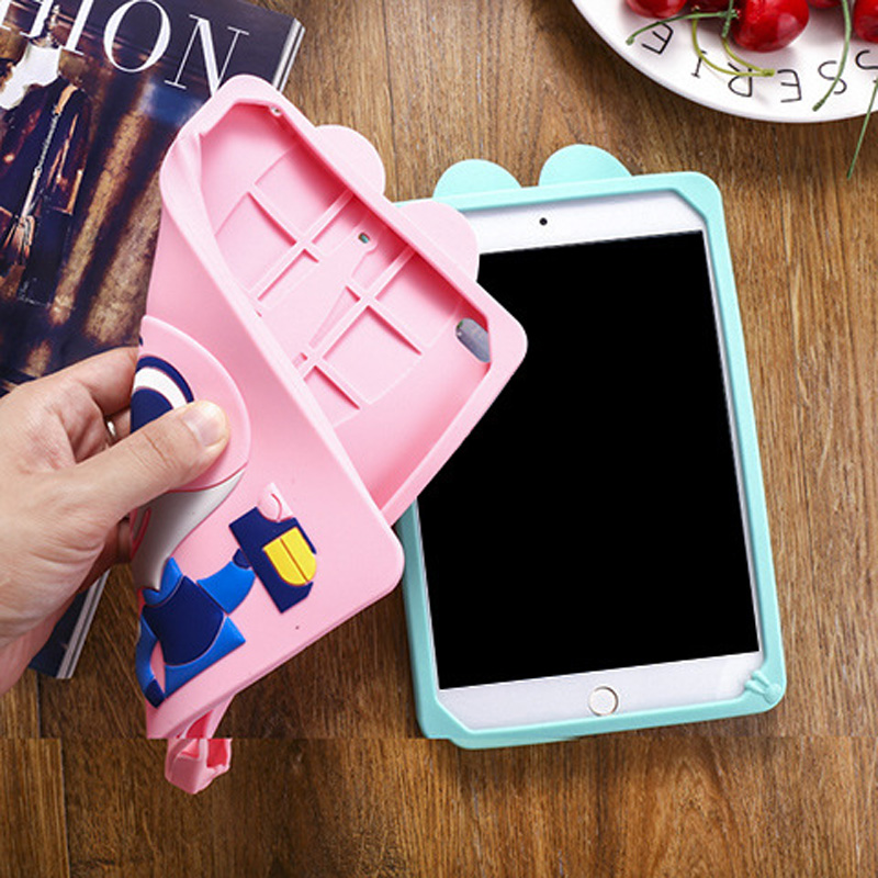 Tablet Case For ipad 2017 9.7 inch Cute Cartoon Rabbit Kids Shockproof Silicone Rubber Stand Back Cover For ipad 2018 Case  (3)