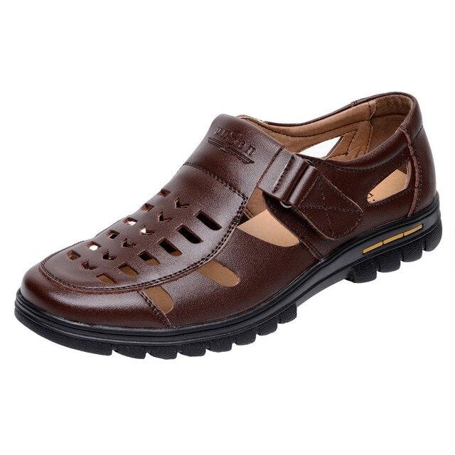 Zapatos de Verano de Cuero Partido de la Vaca de los hombres Nuevos 2016 Hombres Sandalias Hueco Sandalia Plataforma de Negocios de Conducción Mocasines