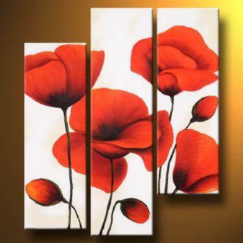 Wall art verre trempé coquelicots 40 x 120 cm rouge//vert//blanc décoration maison
