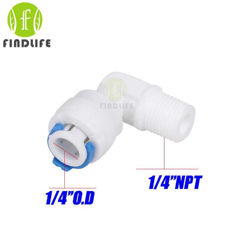 Water Filter Parts 5 pcs 1/4 O.D Tube * 1/4 NPT BSP Elbow  Male Quick Connect  RO Water purifier  Reverse Osmosis machine 4044 2 pcs water filter parts 1 4 tank ball valve for tube quick connect switch water purifier ro reverse osmosis system