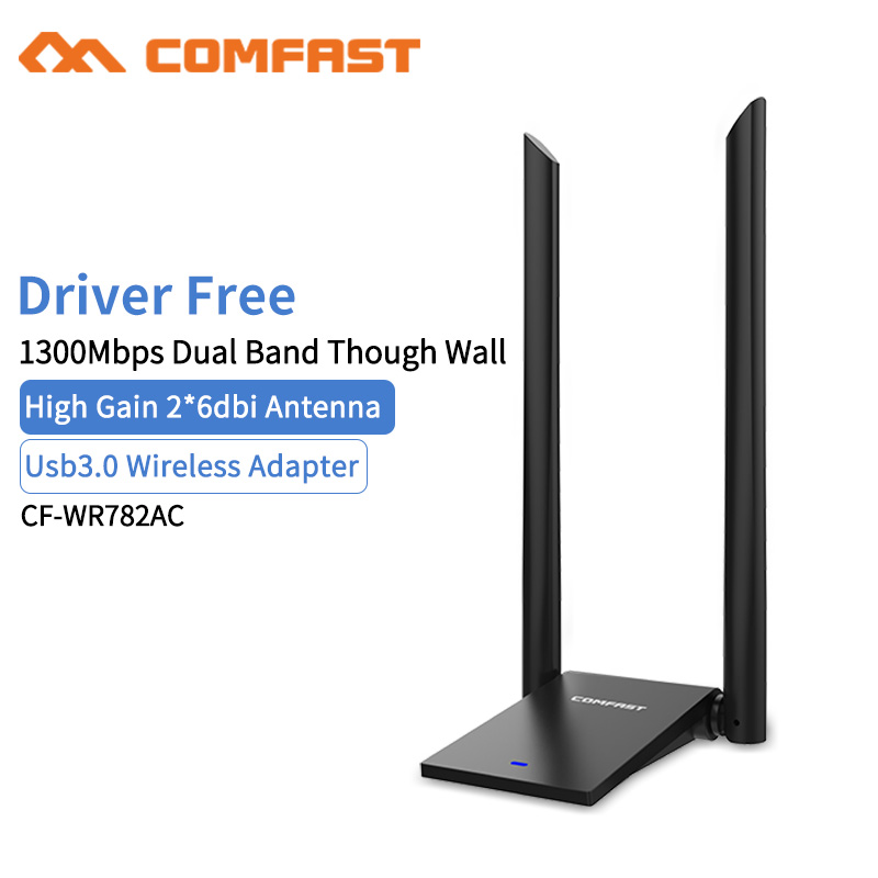 MT7612U High Power USB3.0 Wireless Network Adapter 1300Mbps Desktop PC Wifi Adapter Receiver Long Range Dual 6dBI Wifi Antenna 98000g high power 150mbps wifi adapter password cracking internet long range 2000mw dual aerial usb wifi adapter decoder 1set