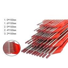 10 шт./лот Вольфрам Электрод вольфрамовый, для сварки неплавящимся электродом в среде защитных газов с мультиигловой системой/стержень 1,0 1,6 2,0 2,4 3,2 мм для Tig сварочный аппарат/машина для точечной сварки 175 мм Красный наконечник