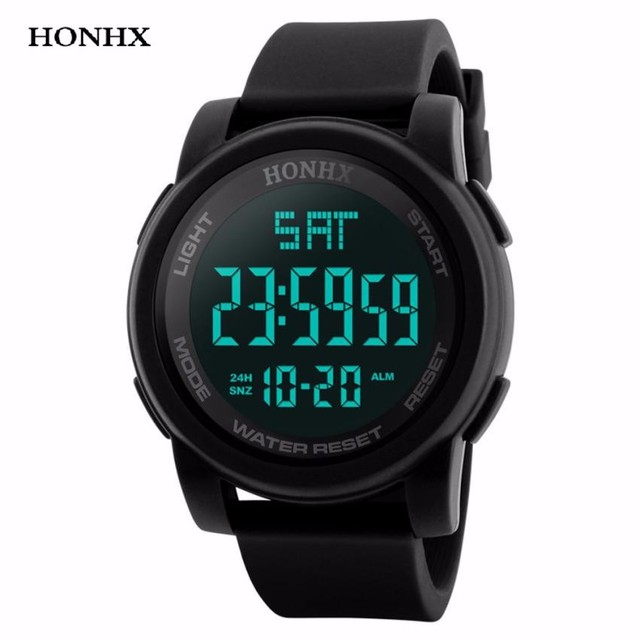 HONHX Fashion Men Watch LED Waterproof Digital Clock Men Quartz Military Sport D