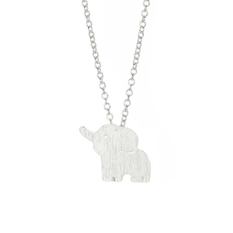 Elephant Pendant Silver Plated Necklace Handmade Animal Jewelry Female Cloth Accessories