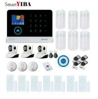 Smartyiba Сенсорный экран Беспроводной сигнализации Системы WI FI 3G сигнализации Наборы с внутренней камеры безопасности Беспроводной синий Siren