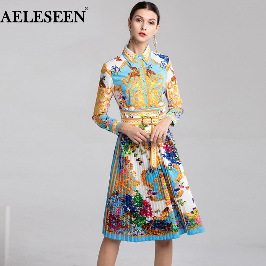 AELESEEN Mode Frauen Kleider 2019 Sommer Neue Tier Blume drehen unten Kragen Eleganten Druck Schärpen Runway Plissee Kleid-in Kleider aus Damenbekleidung bei  Gruppe 1