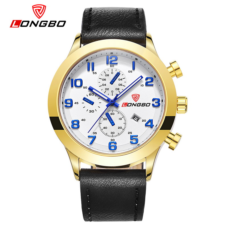 LONGBO Watch Men Quartz mens New watches top luxury Casual Military Sports Wristwatch Brand Leather Strap