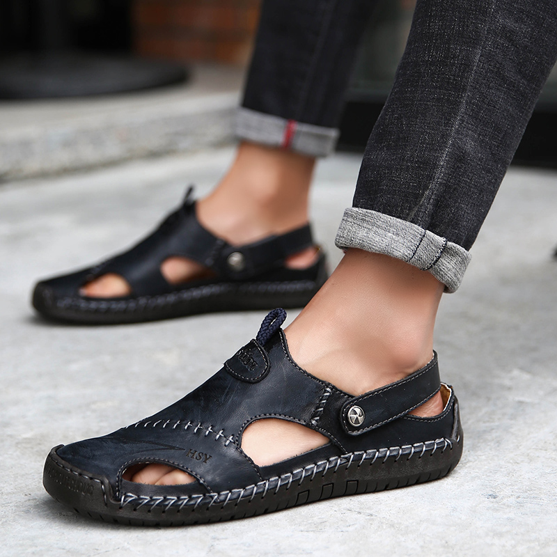 Sandals Men Leather Genuine Mens Shoes Big Beach Shoes Soft Roman Summer 2019 Slipper Outdoor Plus Size 11 12 13 13.5 Black
