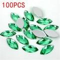 Hot Sale 100Pieces Flat Back Marquise Earth Facets light green Acrylic Horse eye Shape Rhinestone Nail art diamond decoration