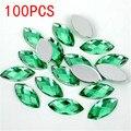Venda quente 100 Pieces Terra Facetas Plano Voltar Marquise Cavalo Formato dos olhos de luz verde Acrílico Rhinestone Nail art decoração diamante