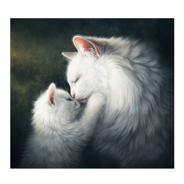 Double White Cats 5D DIY Diamond Painting Cross Stitch Kits Cute Cats Mother Kiss Diamond Embroidery
