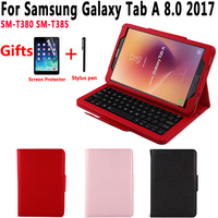 Removeable Wireless Bluetooth Keyboard Leather Case Cover for Samsung Galaxy Tab A 8.0 inch 2017 T380 T385 SM T380 SM T385 Funda