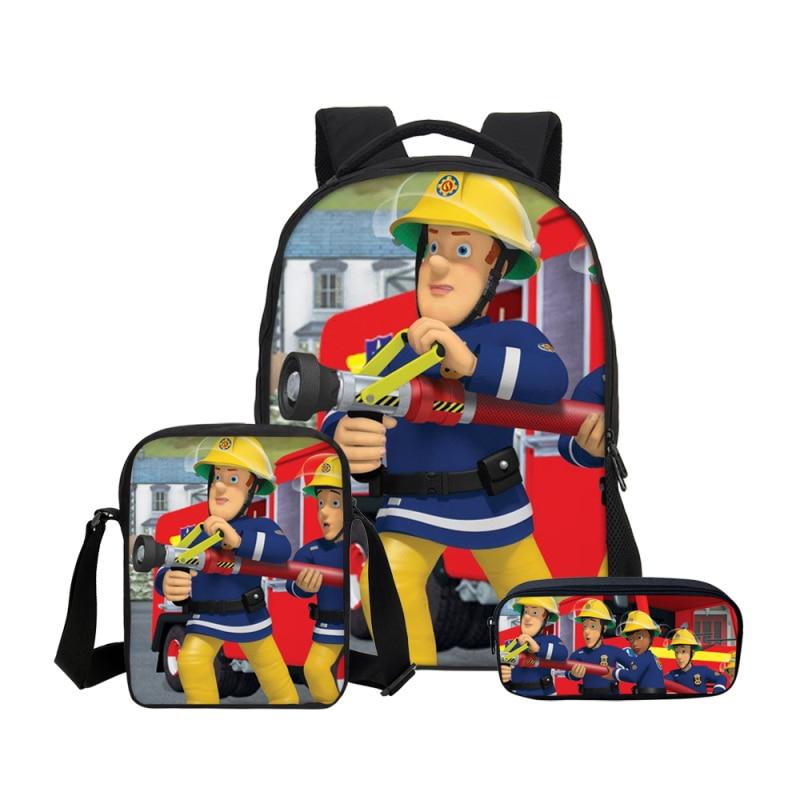 3Pcs/Set Portfolio For School Bag Girls Boys Cartoon Fireman Sam 3D Printing Backpacks Teenage Children Bookbag Mochila Escolar veevanv hot cartoon anime roblox backpacks school bag for teenage boys children kids bagpack mochila men bookbag casual laptop