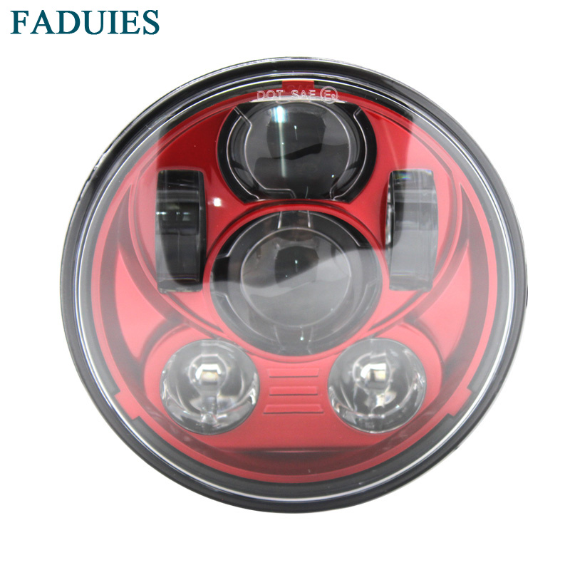 FADUIES Red 5.75 inch 45W High Low Beam LED headlight For Harley Sportster XL 883 1200 Dyna Led headlamp