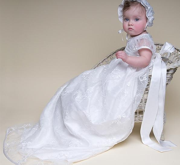Top white long baby gown toddler lace dress 2014 first communion ...