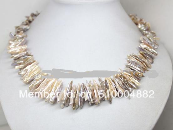 "free shipping  0015 15mm-25mm natural pink lilac keshi biwa pearl gem necklace 18"" fashion jewelry"