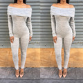 Autumn 2016 Ruffled Off Shoulder Jumpsuit Long Sleeve Grey Color Sexy Bodycon Rompers Womens Jumpsuit Combinaison Femme