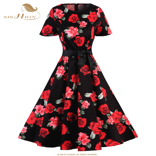 2a558543d2d99 SISHION Short Sleeve Cotton Floral Dress Black White Plus Size Pinup Swing  Retro Women 50s 60s