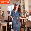 Plus size mulheres moda 2017 summer dress sexy com decote em v mini dress bodycon envoltório denim jeans vestidos meia manga casual dress Q11