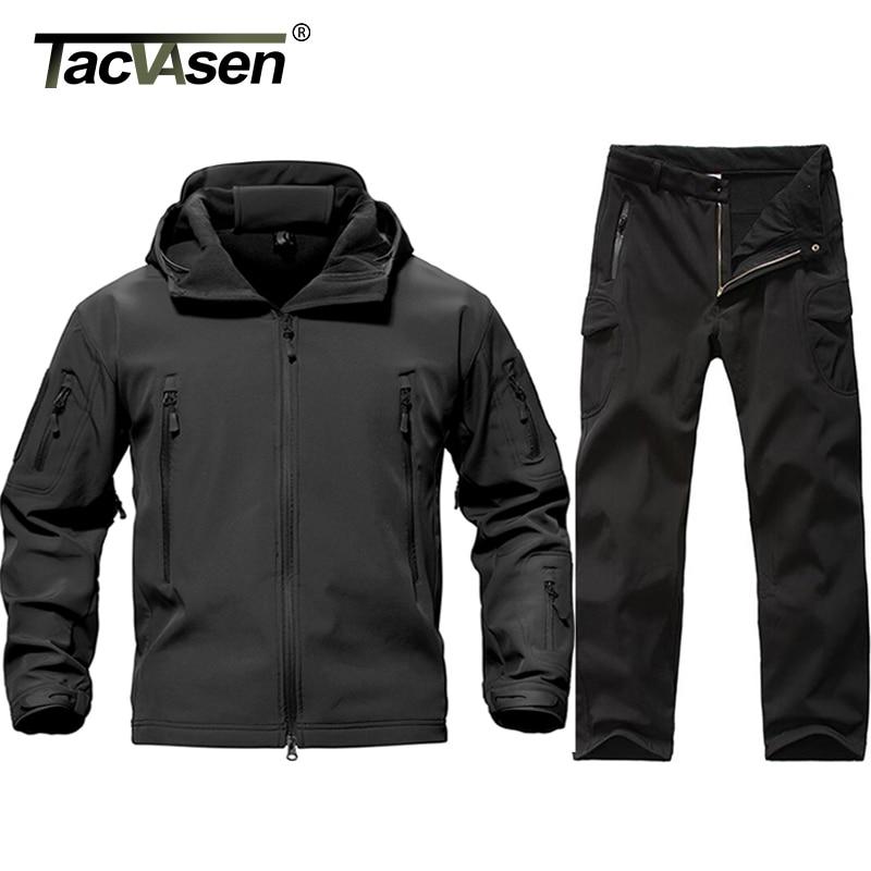 TACVASEN New Men Tactical Military Uniform Clothing Waterproof Army Combat Uniform Tactical Pants Men's Camouflage Hunt Clothes