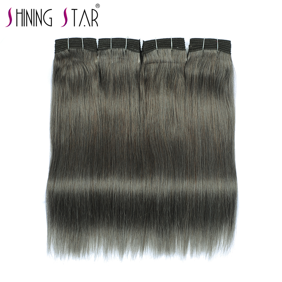 Brazilian Straight Hair Linen Gray 4 Bundles Human Hair Weave 10 26 Inches Shining Star Non